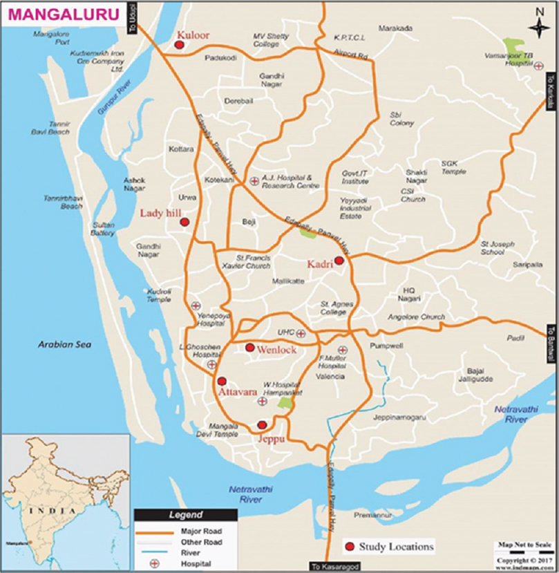 Figure 1: Mangalore city map showing the malaria hotpops in the city